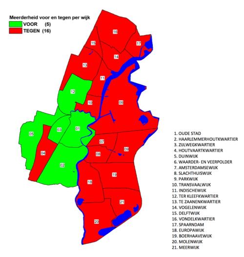 Kaart met % voor en tegenstemmers