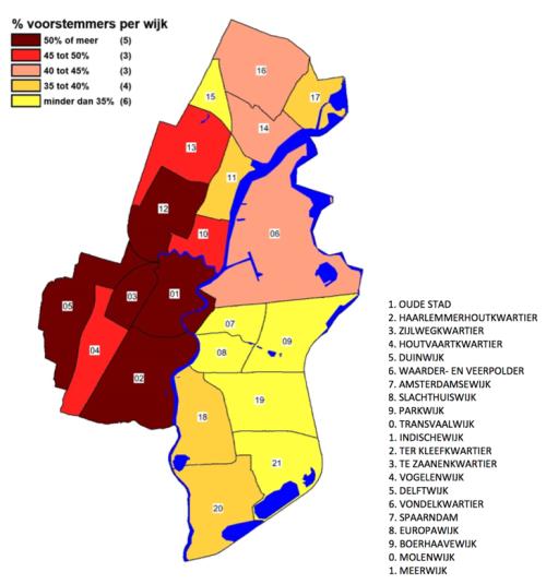 Kaart met % voorstemmers